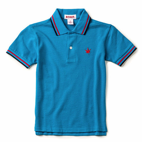 Boy's Tipped Pique Polo - Bright Blue