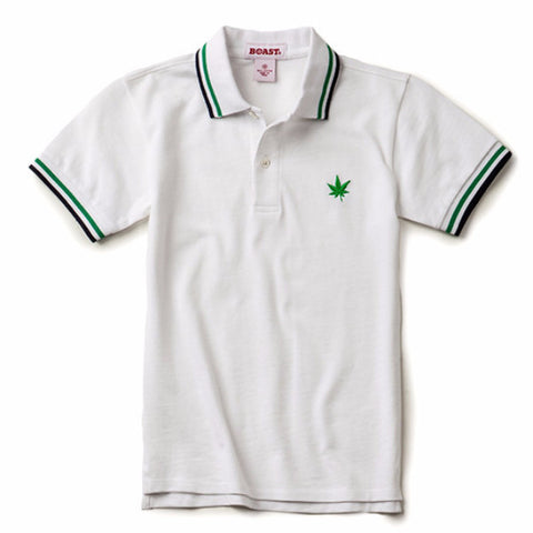 Boys' Tipped Pique Polo - White with Green/Navy
