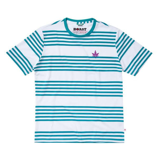 Men's Logo Stripe Court Crew - Med Blue