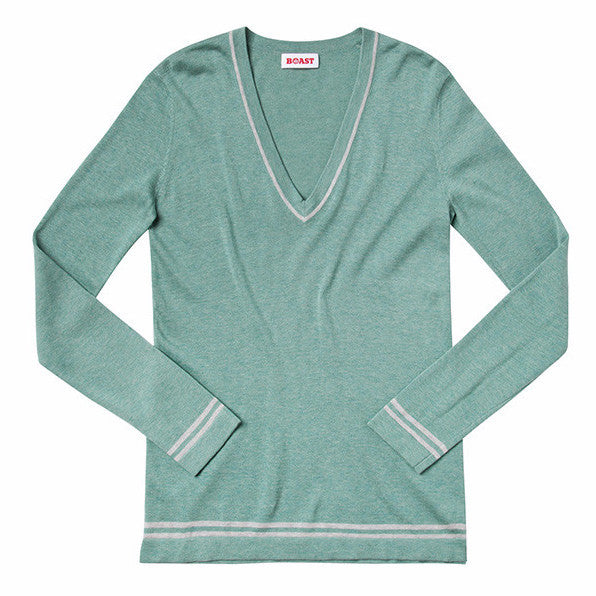 V-Neck Boyfriend Sweater - Light Green