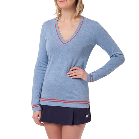 V-Neck Boyfriend Sweater - Pale Blue