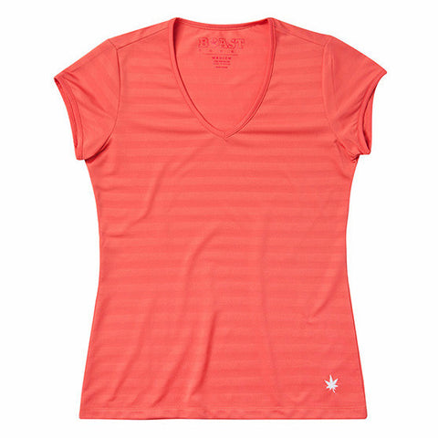 Women's V-Neck Texture Tennis Tee - Coral