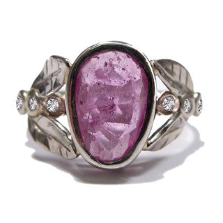 Gold Leafy Organic Pink Sapphire & Diamond Engagement Ring