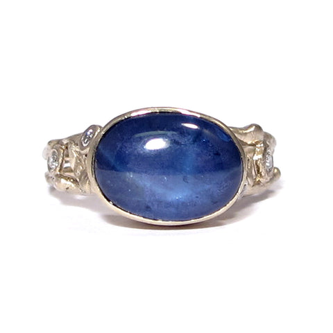 Leafy Organic Gold Engagement Band with Blue Star Sapphire & Diamonds