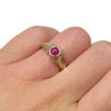Leafy Organic Gold Engagement Band with Cabochon Ruby & Diamonds