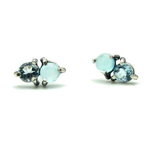 Double Stone Stud Earrings: Blues