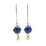 Long French Wire Lapis Earrings