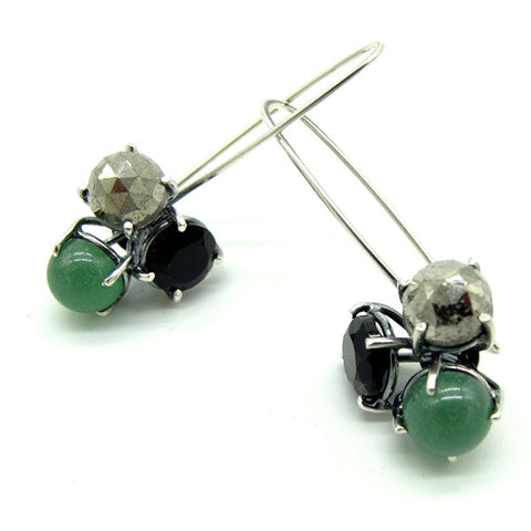 Three Stone Cluster French Wire Earrings: Black, Silver, Green