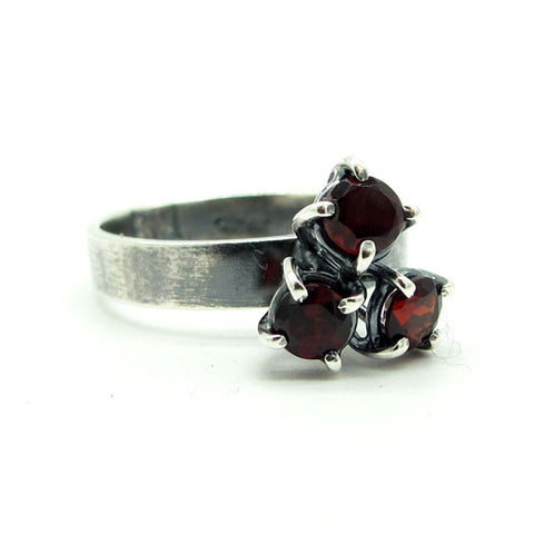 Three Stone Cluster Prong Ring: Garnets