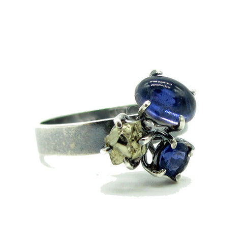 Three Stone Cluster Prong Ring: Iolite & Pyrite