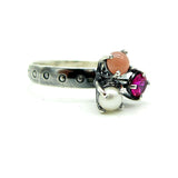 Three Stone Cluster Prong Ring: Girlie Pinks