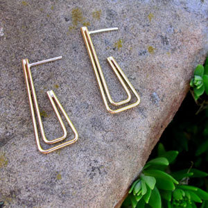 Double Bronze Square Hoops