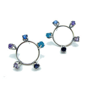 Circle Prong Earrings--Purples