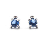 Single Stone Stud Earrings: Blue