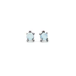 Single Stone Stud Earrings: Blue Chalcedony