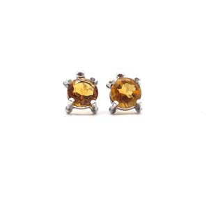 Medium Single Stone Stud Earrings: Citrine