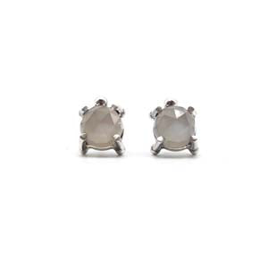 Medium Single Stone Stud Earrings: Gray Moonstone