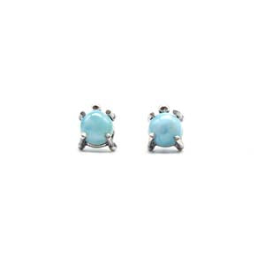 Medium Single Stone Stud Earrings: Larimar