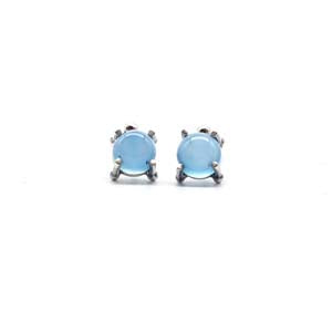 Medium Single Stone Stud Earrings: Blue Chalcedony