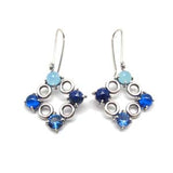 Eight Square Circle/Stone Earrings: Blues