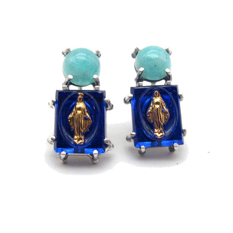 Mother Mary Charm Earrings