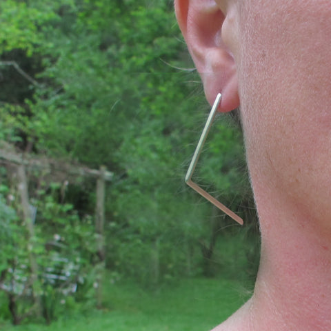 Large Silver Angle Hoops