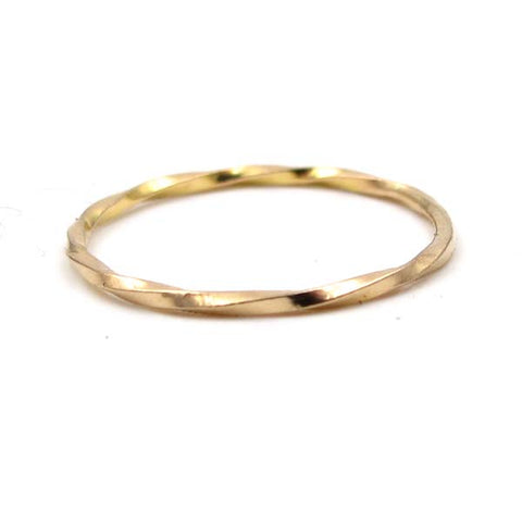 Gold Stacking Ring: Twisted Square Wire