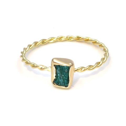 Gold Stacking Ring: Rough Emerald