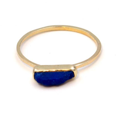Gold Stacking Ring: Rough Lapis