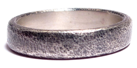 Men's Silver Flat Oxidized Texture Ring