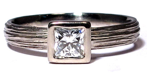Bark Texture Princess Cut Moissanite Engagement Ring