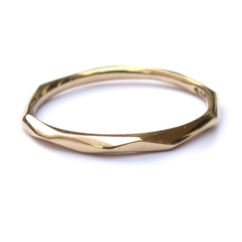 Thin Gold Faceted Ring