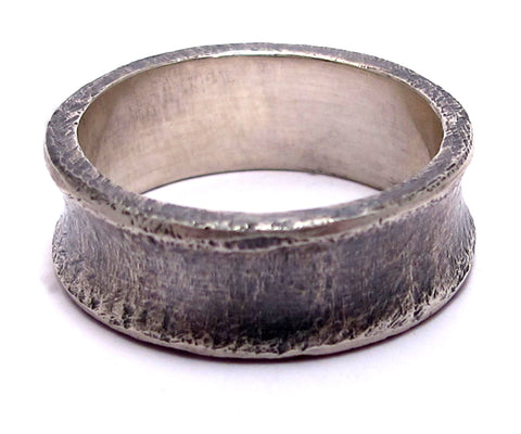 Men's Sterling Silver Concave Band Ring