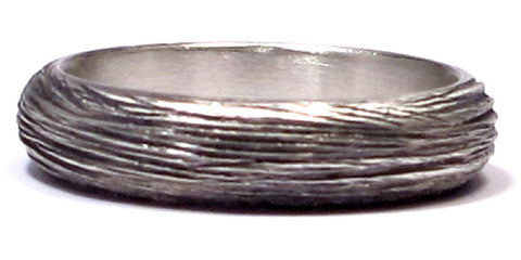 Men's Silver Oxidized Faux Wood grain Ring