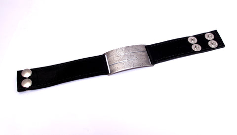 Narrow Lined Silver & Leather Cuff Bracelet