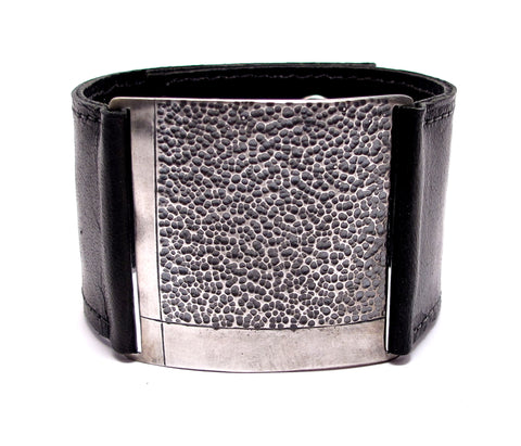 Brown Leather Textured Silver Cuff Bracelet