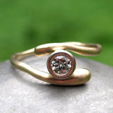 Organic Gold Crossover Moissanite Engagement Ring