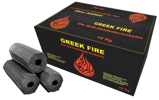 GREEK FIRE - Premium Grill-Hilzkohlebriketts