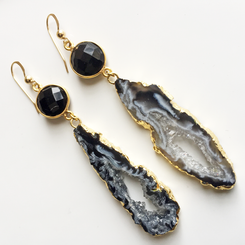 Black Onyx Agate Slice Earrings