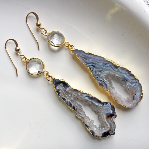 Crystal Agate Slice Earrings