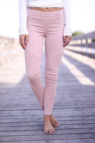 Moto Jeggings - Dusty Pink