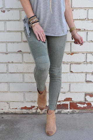 Moto Jeggings - Olive Green