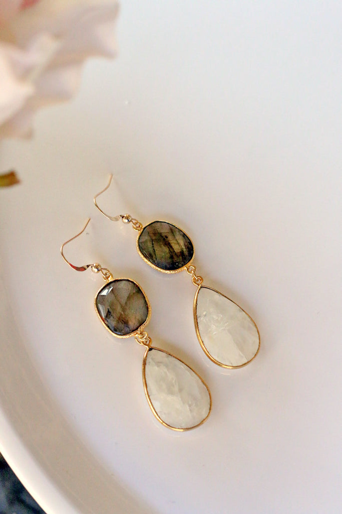 Pyrite & Moonstone Earrings - Mesmerized Earrings - Unhinged Boutique