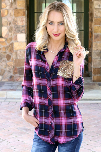 Bailey Top - Unhinged Boutique - Sequin Plaid Top - Sequin Flannel - Pink - Red Plaid
