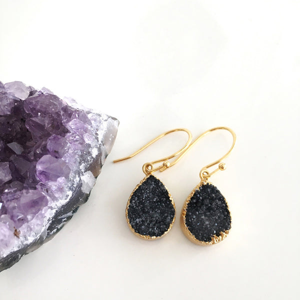 Jet Black Druzy Earrings - Unhinged Boutique