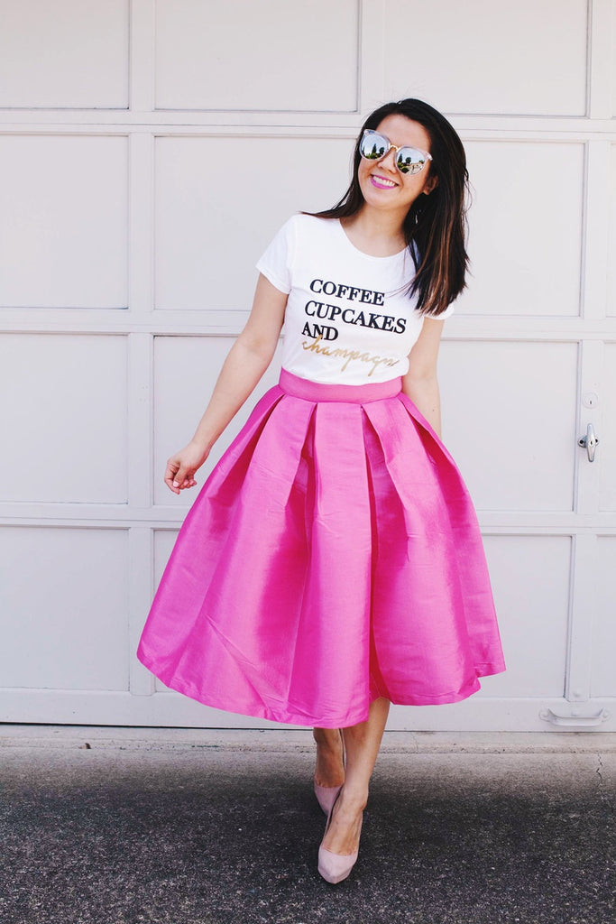 Coffee, Cupcakes & Champagne Tee - Unhinged Boutique