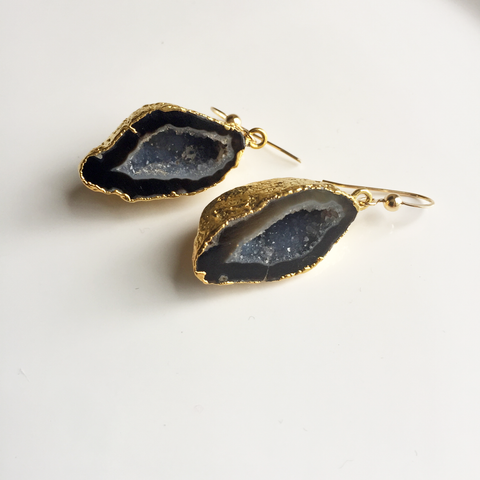 Black Geode Slice Earrings