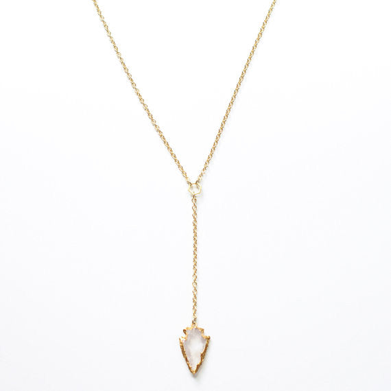 Rose Quartz Lariat Necklace - Unhinged Boutique
