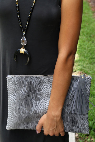 Snake Print Clutch - Unhinged Boutique