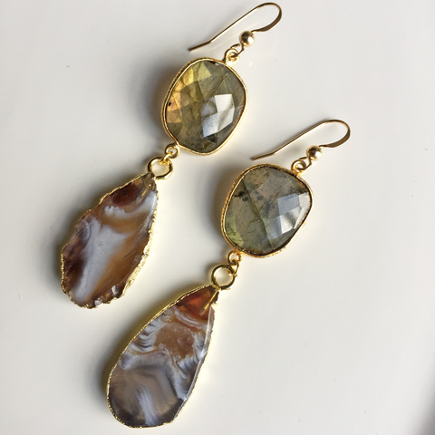 Agate Slice & Labrodite Earrings